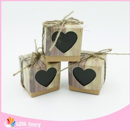 Sweet Party Box Australia - Wholesale-2016 New 50pcs Sweet Heart Love Rustic Kraft Wedding Favors Gift Boxes Party Candy Box Wedding Decorations Party Supplies