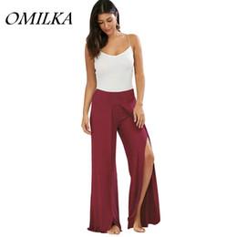 $enCountryForm.capitalKeyWord Canada - OMILKA 2017 Summer Women Midi Waist Split Big Swing Wide Leg Pants Casual Black Blue Red Green Purple Beige Sport Yoga Pants