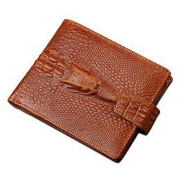 Baellerry High -Quality ,Mens Genuine Leather ,Short Section ,Dark Button ,Money Clip Purse Wallet Crocodile Pattern on Sale