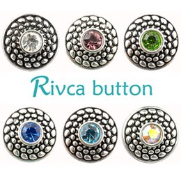 Black Coral Beads Wholesale NZ - Rivca Snaps Button Jewelry Hot wholesale High quality Mix styles 18mm Metal Ginger Snap Button Charm Rhinestone Styles NOOSA chunk D02034