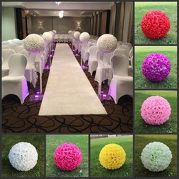 "wholesale silk white rose ball NZ - 24 "" 60 CM Big Size Milk White Artificial Encryption Rose Silk Flower Kissing Balls Hanging Ball For Wedding Party Centerpieces Decorations"