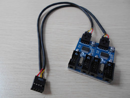 internal ide cable UK - Wholesale- PC Case Internal 9Pin USB 2.0 1 to 4 Splitter PCB Chipset Enhanced Extender