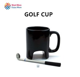 Chinese  Wholesale- Creative Golf ceramic mug funny black coffee mug office Casual ceramic mug Golf stick pen birthday gift manufacturers