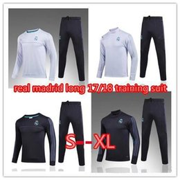 Barato Jaqueta Longa Calça Preta-Ensemble Football Homme Real Madrid Tracksuit 17 18 Sweater Suit 2017 2018 Trainning Top Set Jacket Long Pants Home Branco Away Black Ronaldo
