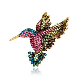 $enCountryForm.capitalKeyWord Australia - Vintage Multicolor Rhinestone Woodpecker Brooches Antique Gold Alloy Animal Brooch Costume Pins Fashion Breastpin Party Dress Jewelry