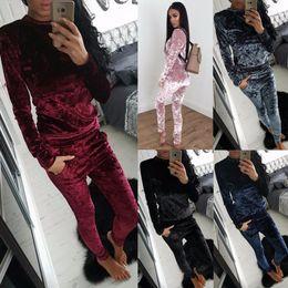 $enCountryForm.capitalKeyWord NZ - 2017 New Style Winter 2 Two Piece Set velour tracksuit women clothing Set Outfit women ensemble Wool Soft velvet Hoodie and Pants Runway Set