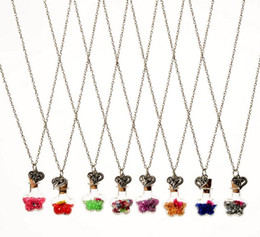 $enCountryForm.capitalKeyWord Canada - Free shipping Fashion dried flowers drift bottle necklace DIY alloy retro heart glass necklace WFN288 (with chain) mix order 20 pieces a lot
