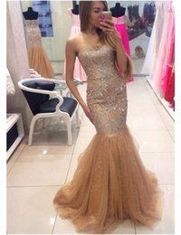 African Dresses For Special Occasions Canada - 2019 Champagne Celebrity holiday dubai evening Dresses Sweetheart Gowns for Special Occasion Mermaid formal Prom dress beads african