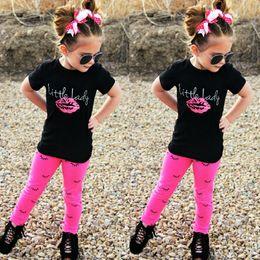 Style Lipstick Canada - Girl summer clothes sets 2017 european style children lipstick print T shirt+eyelash print leggings 2pcs outfits kids cotton clothes suits