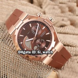 reserve gold Canada - New Overseas Dual Time Rose Gold Brown Dial Power Reserve 47450 000W-9511 Automatic Mens Watch Brown Rubber Strap Watches Luuxry VCA131c3