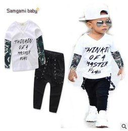 Vêtements Pour Bébés Pas Cher-Skull Letters Printed Kids Tattoo Sleeves T-shirt + Pantalons 2Pcs Outfits Ins Clothing Ensemble de vêtements pour garçons Bébé Vêtements de garçon Boutique Vêtements 611