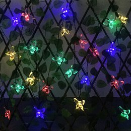 led strings 48m 20leds butterfly solar lamps decorative lights waterproof white fairy garden outdoor christmas solar led string lights