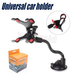 Wholesale mobile phone i8 resale online - Universal Car Mount Long Arm Windshield Dashboard Mobile Phone Car Holder Degree Rotation with Strong Suction Cup X Clamp for i8 s8