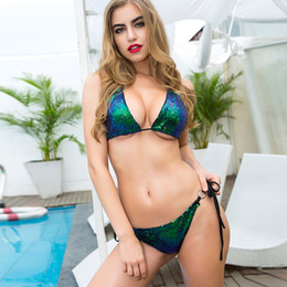 Barato Traje De Banho De Ouro Sexy-Hot Sale Nightclub Sexy Bikini Beach Swimwear Conjuntos Sequined Bras Underwear Swimsuits Gold / Green / Silver / Pink