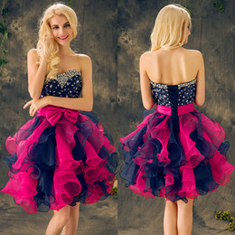 Barato Laço De Organza De Marinha De Vestido-Pink Navy Blue Sequins Vestidos de cocktail Vestido de baile Crystal Beading Bow Sweetheart Lace Up Organza Little Short Sweety Party Prom Dress 2017