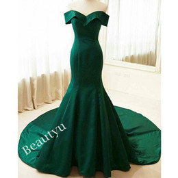 Corset Vert À Bas Prix Pas Cher-Simple Dark Green Mermaid Robes de soirée avec manches 2017 Cheap Custom Off épaule Corset Court Train Satin Long Party Robes de bal formelles