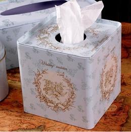 Paper Roll Holders Australia - Wholesale- Free Shipping! Vintage Metal Ficial Paper Case Napkin Holder Tissue Box Noble Style Fresh Light Blue Color Square Shape T1248