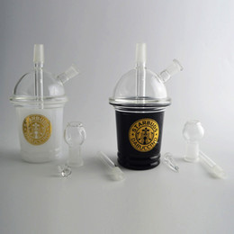 "pipe cup NZ - Colored Starbuck Cup Glass Bongs Water Pipe Clear Top Starbuds Dabuccino Cup Concentrate Oil Rig 6.5"" Tall Detachable Neck Glass Hookah"