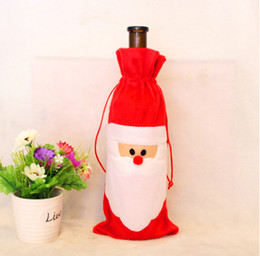 Factory Price Of Christmas Dinner Table Decoratio Red Wine Bottle Cover  Bags Home Party Decors Santa Claus Christmas Decoration Factory