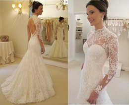 $enCountryForm.capitalKeyWord NZ - Romantic Lace Mermaid Wedding Dresses With Elegant High Neck Long Sleeve Backless Sweep Train Bridal Gown New 2017 Couture Free Shipping