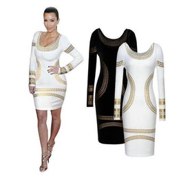 Barato Estilo Vestido Rua Longa-Hot New Spring Fashion Spring Scoop Neck manga comprida Mulheres Collection Club Bodycon Dress Hip Package Street Style
