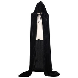 Chinese  Adult Witch Long Halloween Cloaks Hood and Capes Halloween Costumes for Women Men Cosplay Costumes Velvet Cosplay Clothing manufacturers