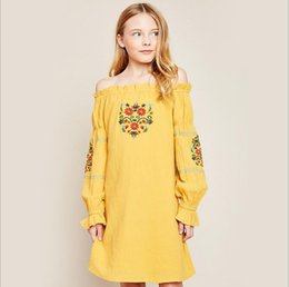 Grandes Robes À Manches Longues Pas Cher-Big Girls Flower Dresses 2017 Adolescent Broderie Floral Dress Junior Fashion Manches longues Robe Enfants Vêtements