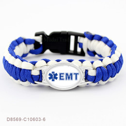 Medical Charm Bracelets Canada - My Heart for an EMT Emergency Medical Technician Ambulance Technician Paracord Survival Friendship Gifts For Men Bracelets
