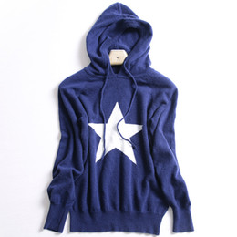 Wholesale Autumn and winter new star hooded sweater women cashmere sweater loose long sleeved sweater five pointed hat hood warm loose jacket