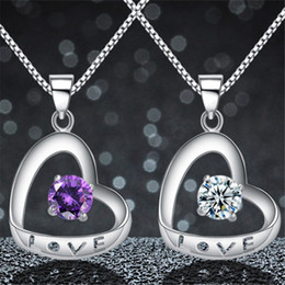 925 sterling silver letter love necklace 2019 - Love Letter Heart Purple Crystal Pendant For Necklace Genuine 925 Sterling Silver 100% Honest Material Fashion Women Jew