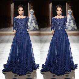 Großhandel Navy Blue Lace Pageant Kleider Inspiriert von Zuhair Murad Eine Linie U-Ausschnitt Halbarm Applikationen Perlen lange Abendkleider Formal