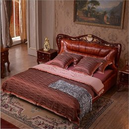Beds Leather NZ - style Fashion European French Carved leather bed furniture 1.8 m 10321
