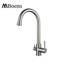 Contemporary Three Way Sink Mixer Water Filter Tap 304 SUS Kitchen Faucets Drinking  Water Faucets Brushed Taps