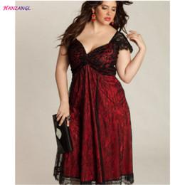 HANZANGL Plus Size Clothing Summer Women Elegant Sexy V-neck Short Sleeve  Lace Party Dresses Ladies Casual Dress L XL 2XL 3XL 4XL 5XL X5001 c03d0ec381ce
