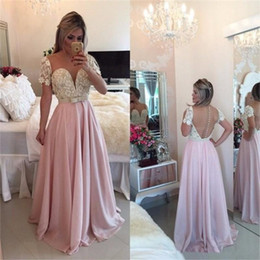 Short Red Lace Prom Vintage Dress Australia - Vintage Short Sleeves 2017 Arabic Prom Dresses Illusion Bodice Lace Appliques Plus Size Floor Long Pink Chiffon Formal Evening Occasion Gown