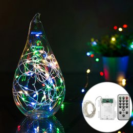 wholesale epbowpt 5m 66leds timer battery powered copper wire led string light starry lights fairy lights with remote controller for party - Battery Christmas Lights With Timer