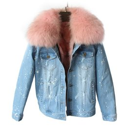 2f112771a6 Wholesale- brand 2016 autumn winter jacket coat women Holes Denim jacket  real large raccoon fur collar and real Fox fur thick warm Liner