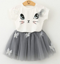T-shirt Combinaison De Chat Pas Cher-Summer Children Girls manches courtes costume jolie chat T shirt + jupe pompon papillon jupe Tutu Robe D7212