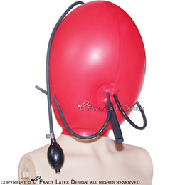 latex fetish hoods mask 2018 - Red Inflatable Sexy Latex Hoods With Breath Tubes Rubber ball Masks Cocoon Balloon Fetish Bondage Plus size Hand Pumb Br