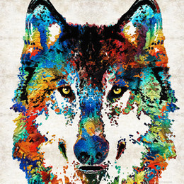 wrapped canvas prints Australia - wolf-art-print-hungry-by-sharon-cummings-sharon-cummings canvas wall decoration art Oil Painting No Wrap-Rolled In A Tube
