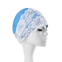 Chinese  Wholesale- Beautiful Lace Beach Quick Dry Swimming Cap For Women Girls Flower Elastic Hollow Out Bathing Hat Swimming Pool New manufacturers