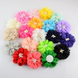 pretty hair for Canada - free shipping 30pcs lot 20color Handmade Children Pretty Chiffon Fabric Flower Without Clip For Baby Girls DIY Crafts Hair Accessories H0142