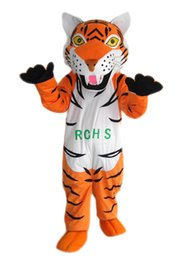 Fan De Tête De Mascotte Pas Cher-Hot Sale Orange Stripe Tiger Mascot Costume pour adultes Animal Mascots Halloween Fanncy Dress Party des tenues de fête avec tête fan