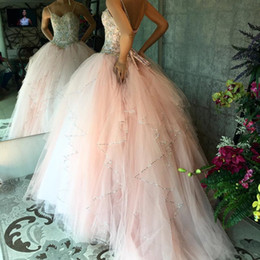Barato Vestido De Lantejoulas-Sweet Blush Pink Quinceanera Vestidos Sweetheart Spaghetti Straps Sequins Beaded Tulle Lace Up Vestido de baile Sweet 16 Dress Prom Dresses