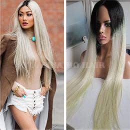 $enCountryForm.capitalKeyWord Australia - High quality 1bT613 silky straight peruvian ombre blonde hair dark roots glueless full lace wig free shipping