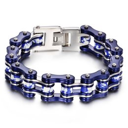 motorcycle chain bracelet clasp NZ - Popular Hiphop Style Fashion Blue Stone Stainless Steel Biker Motorcycle Chain Fashion Men's Bracelet 8.8'' Blue Silver Two Tone