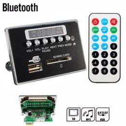 Car Radio Built Speaker Canada - Wholesale- Universal Portable LED 12V Car Travel MP3 Player Bluetooth Decoder Board Remote Control RC FM Radio USB SD AUX Set High Qualit