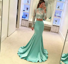 mint green mermaid prom gowns NZ - Mint Green 2 Pieces Prom Dresses Long Sleeve Mermaid 2017 Robe De Soiree Sheer Lace Special Occasion Evening Party Gowns