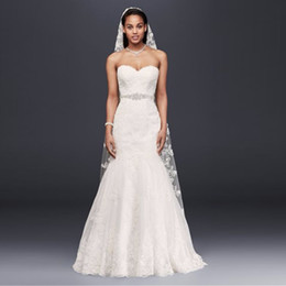 wedding dress sweetheart open Australia - Sweetheart Full Lace Trumpet Wedding Dress with Beaded Sash Open Back Bridal Gowns Sweep Train White Lace Bride dress Appliques V3680