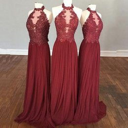 ac4a1c28d3 Burgundy Chiffon Country Bridesmaid Dresses Long 2017 Cheap A Line Elegant  Halter Vintage Lace Corset Illusion Sheer Wedding Party Gowns
